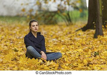 feuilles, baissé, jeune fille, séance