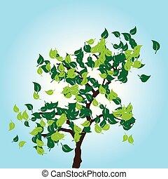 feuilles bleu, arbre, vecteur, arrière-plan vert
