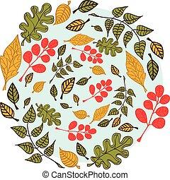 feuilles bleu, fond, automne