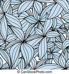 feuilles bleu, seamless, fond