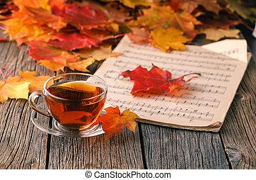 feuilles, bois, fond, automne, table, érable