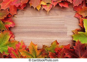 feuilles, bois, frontière, érable, automne