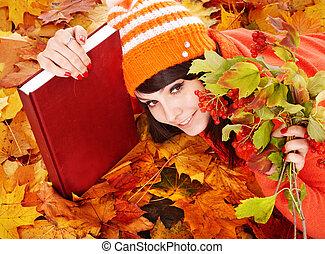 feuilles, book., girl, automne, orange