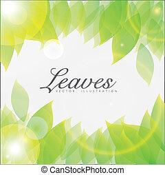feuilles, brillant, illustration