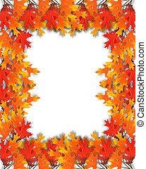feuilles, cadre, automne, frontière