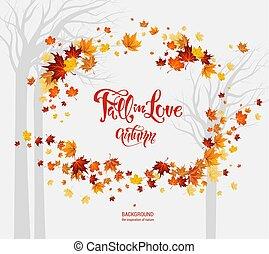 feuilles, cadre, automne