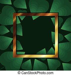 feuilles, cadre, couleur d'arrière-plan, or, vert