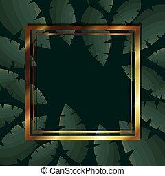 feuilles, cadre, couleur d'arrière-plan, or, vert, sur