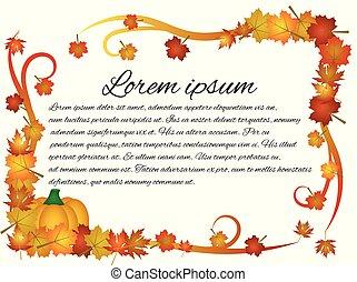 feuilles, cadre, récolte, automne, citrouille, thanksgiving