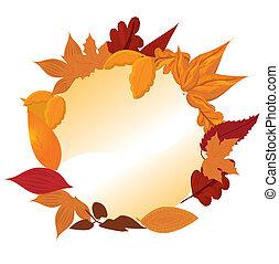 feuilles, cadre, rond, automnal