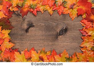 feuilles, coloré, érable, cadre