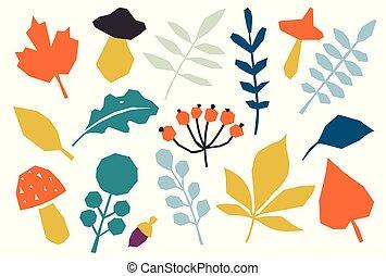 feuilles, coloré, automne, blanc, isolé, ensemble, arrière-plan.