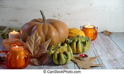 feuilles, composition, thanksgiving, automne, fond, potirons...