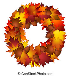 feuilles, couronne, glands, automne