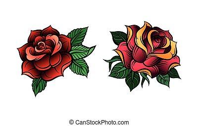feuilles, décoratif, rouges, soufflé, roses, pétale, ensemble, vecteur
