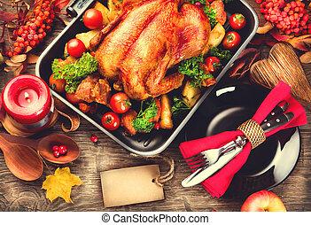 feuilles, dîner, thanksgiving, automne, clair, turquie, servi, décoré, table