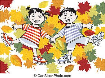 feuilles, enfants jouer