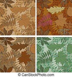 feuilles, ensemble, arrière-plans, seamless
