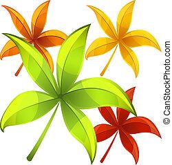 feuilles, ensemble, automne