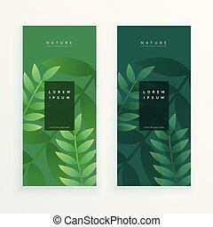 feuilles, ensemble, bannière, deux, vertical