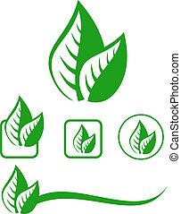 feuilles, ensemble, emblème