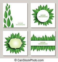 feuilles, ensemble, fond, nature