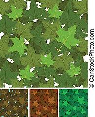 feuilles, ensemble, seamless, fond, érable