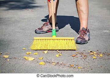 feuilles, essuyé, ouvrier, brosse, jaune