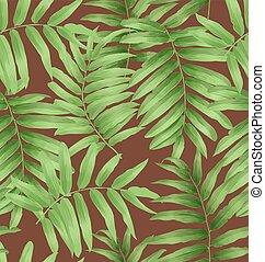 feuilles, exotique, paume
