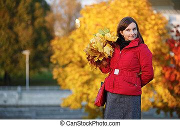 feuilles, femme, érable
