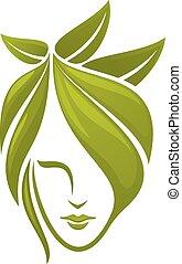 feuilles, femme, face verte