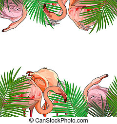 feuilles, flamants rose, seamless, fond