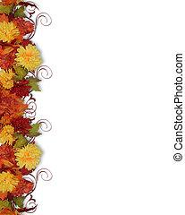 feuilles, fleurs, frontière, automne