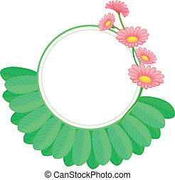 feuilles, fleurs, frontière, rond, gabarit