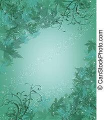 feuilles, fond, bleu, résumé