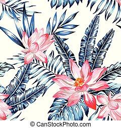 feuilles, fond, rose, paume, bleu, seamless, lotus