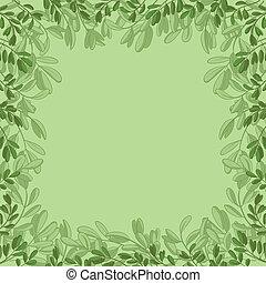 feuilles, fond, vert