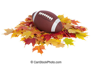 feuilles, football, isolé, collège, automne, blanc