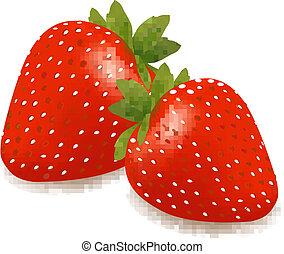 feuilles, fraises, deux