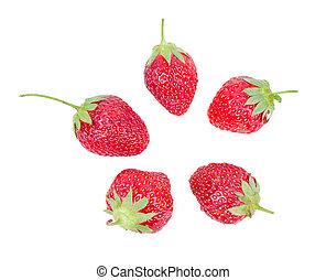 feuilles, fraises, juteux, mûre