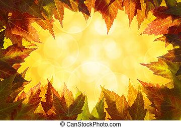 feuilles, frontière, érable, automne