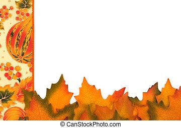 feuilles, frontière, automne