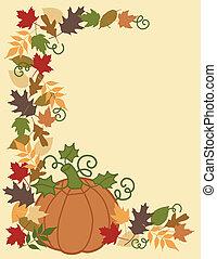 feuilles, frontière, citrouille