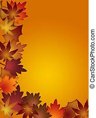 feuilles, frontière, coloré, automne