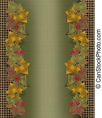 feuilles, frontière, gabarit, automne