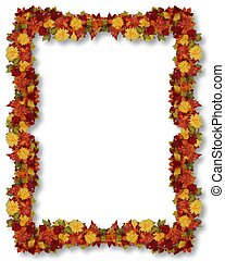 feuilles, frontière, thanksgiving, automne