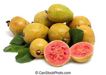 feuilles, fruit, fond, frais, blanc, goyave