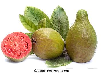 feuilles, fruit, frais, fond, goyave, blanc