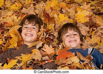 feuilles, garçons, automne