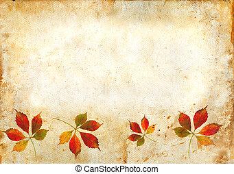 feuilles, grunge, fond, automne